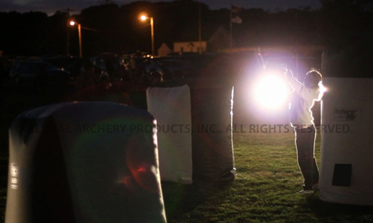 The played continued after dark with car headlights lighting the Archery Tag field!